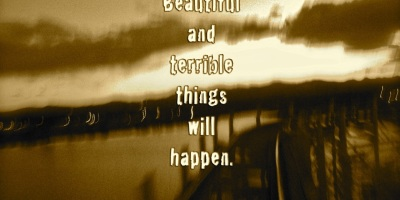 """Here is the world. Beautiful and Terrible things will happen. Don't be afraid."""